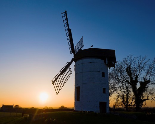 Sunset at Ashton Windmill near Chapel Allerton, Somerset, England, United Kingdom : Stock Photo