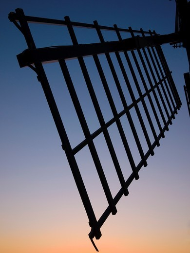 Stock Photo: 1566-755613 Silhouette of Ashton Windmill sail at dusk  Chapel Allerton, Somerset, England, United Kingdom