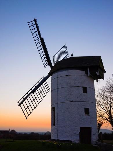 Ashton Windmill at dusk  Chapel Allerton, Somerset, England, United Kingdom : Stock Photo