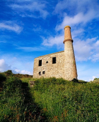 Stock Photo: 1566-755711 The old engine house at the Prince Of Wales Quarry, Trewarmett near Camelford, Cornwall, England, United Kingdom