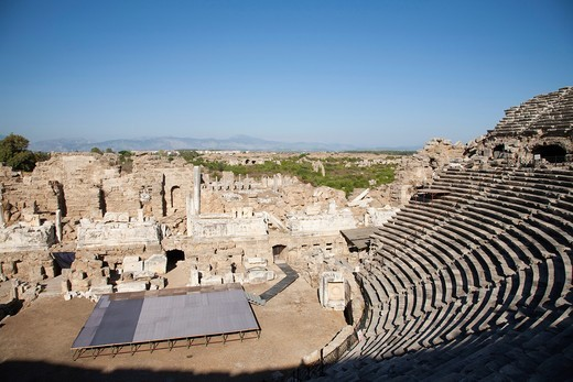 Stock Photo: 1566-755812 roman theater, side, anatolia, mediterranean coast, turkey, asia
