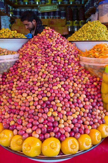 Stock Photo: 1566-756372 Marinated olives Souq Al-Had market Agadir the Souss southern Morocco northwestern Africa