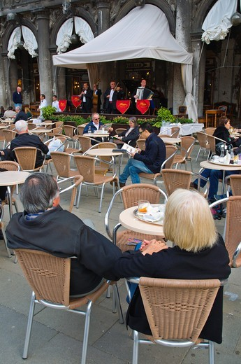 Terrace of Caffe Florian cafe Piazza San Marco square Venice Italy Europe : Stock Photo