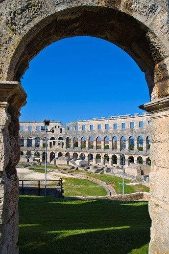 Arena the ancient amphitheatre Pula the Istrian peninsula Croatia Europe : Stock Photo