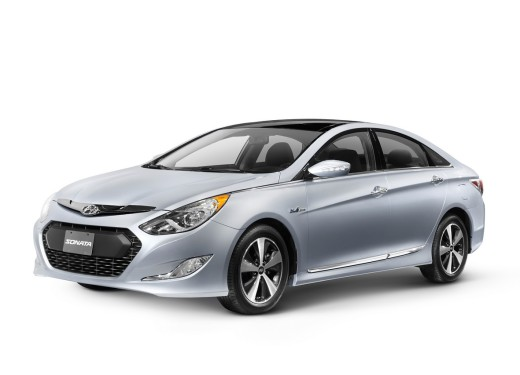 2011 Hyundai Sonata Hybrid Premium isolated car on white background with clipping path : Stock Photo