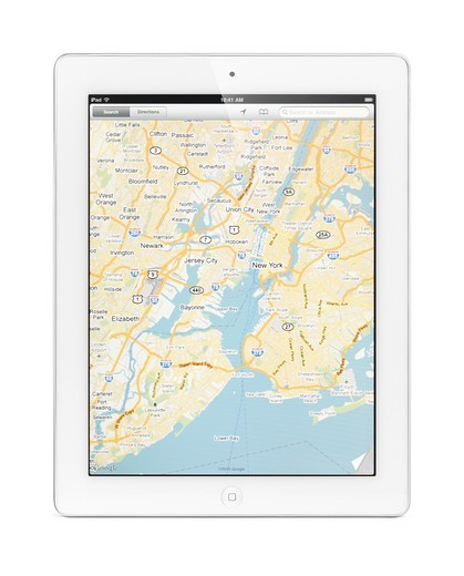 Apple iPad 2 tablet computer with a map of New York by Google Maps on its display  Isolated with clipping path on white background : Stock Photo