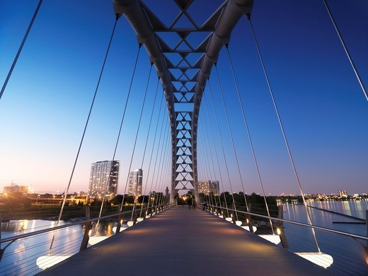 Stock Photo: 1566-757391 The Humber River Arch Bridge in Toronto during sunset also known as the Humber Bay Arch Bridge or the Gateway Bridge  Toronto, Ontario, Canada