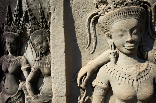 Stock Photo: 1566-758095 Southeast Asia, Cambodia, Siem Reap Province, Angkor site, Unseco world heritage of UNESCO since 1992, Angkor Wat temple, XII th century, relief sculpture of Apsara, heavenly and holy dancers of Khmer Kingdom