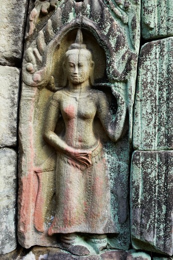 Southeast Asia, Cambodia, Siem Reap Province, Angkor site, Unesco world heritage since 1992, antique city, Preah Khan temple, relief of Apsara, holy dancers of khmer kingdom : Stock Photo