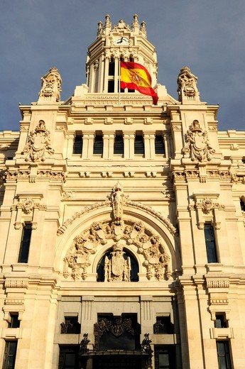 Main facade of the Cibeles Palace, seat of the Madrid town hall : Stock Photo