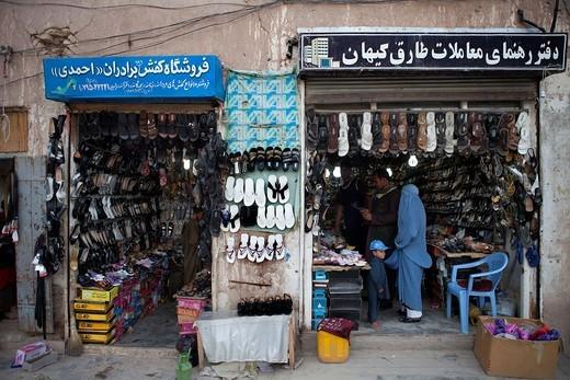 shoeshop in herat, Afghanistan : Stock Photo