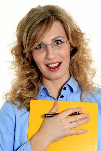 Stock Photo: 1566-760399 Scared Businesswoman with clipboard