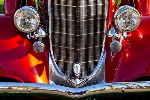 Stock Photo: 1566-760726 Close-up of 1934 Dodge fender, grille and headlamps of a classic car