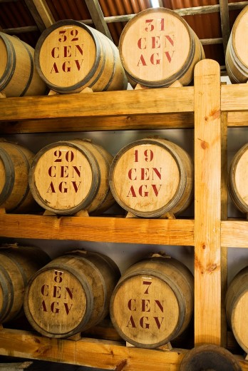 PORTO DA CRUZ MADEIRA Rum distillery rack of barrels : Stock Photo