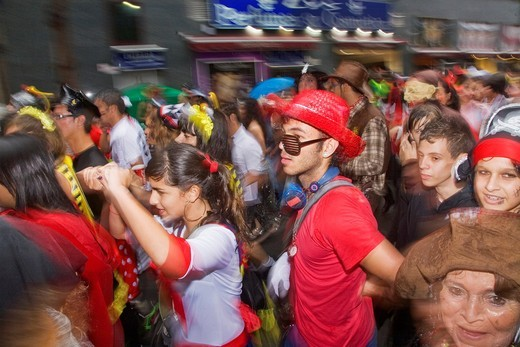 Las Palmas Carnaval 2011: Crowd behind a carnaval float : Stock Photo
