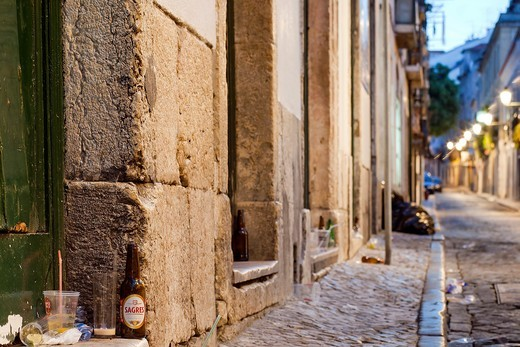Bairro Alto after the night parties, Lisbon, Portugal, Europe : Stock Photo