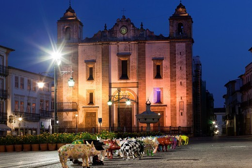 Pig Parade in Giraldo Square, Evora, Portugal, Europe : Stock Photo