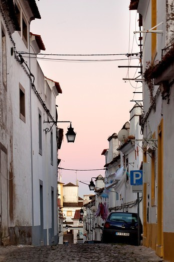 Streets of Evora at Sunrise, Portugal, Europe : Stock Photo