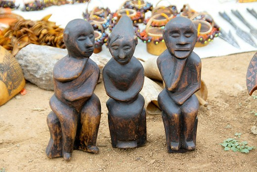 Stock Photo: 1566-762084 Africa, Ethiopia, Omo River Valley Hamer Tribe handmade figurines on display
