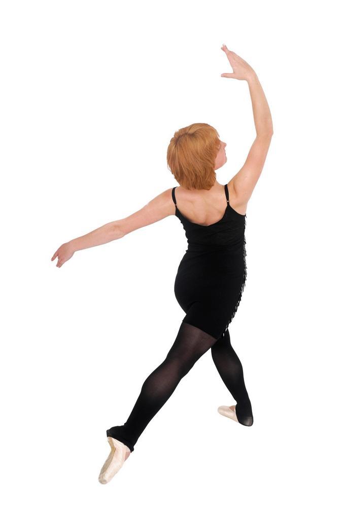 Stock Photo: 1566-762141 Female Ballet Dancer balances on her tows On white Background