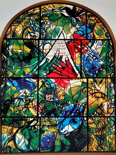 Stock Photo: 1566-762203 The Tribe of Issachar  The Twelve Tribes of Israel depicted in stained glass By Marc Shagall 1887 - 1985  The Twelve Tribes are Reuben, Simeon, Levi, Judah, Issachar, Zebulun, Dan, Gad, Naphtali, Asher, Joseph, and Benjamin