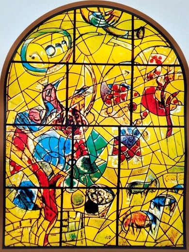 The Tribe of Joseph  The Twelve Tribes of Israel depicted in stained glass By Marc Shagall 1887 - 1985  The Twelve Tribes are Reuben, Simeon, Levi, Judah, Issachar, Zebulun, Dan, Gad, Naphtali, Asher, Joseph, and Benjamin : Stock Photo
