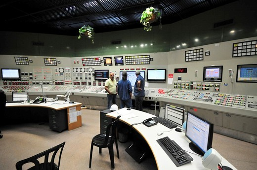 Israel, Hadera, The Orot Rabin coal operated power plant the central control room  All facility activities are monitored and controlled from this room : Stock Photo