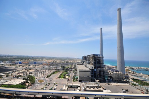 Israel, Hadera, The Orot Rabin coal operated power plant : Stock Photo