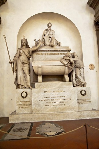 Stock Photo: 1566-762479 Tomb of Dante, Basilica of Santa Croce, Florence, Italy