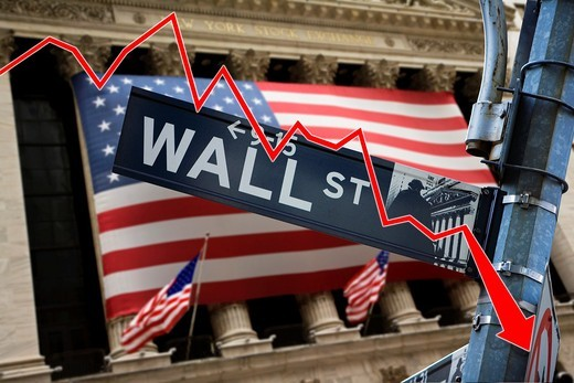 Wall Street with a graphic arrow showing a down index : Stock Photo