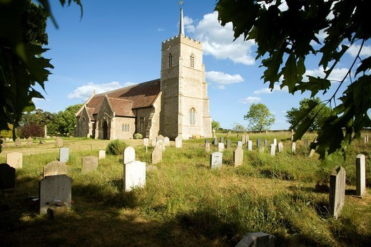All Saints church and graveyard, Sudbourne, Suffolk, England : Stock Photo