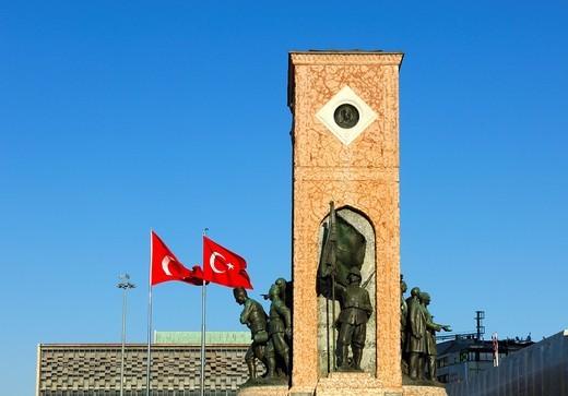 Stock Photo: 1566-763360 Monument of the Republic on Taksim Square, Istanbul,Turkey