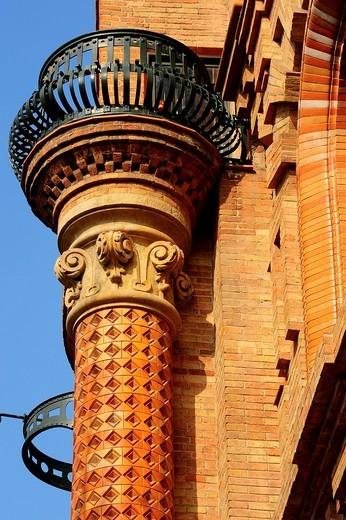 Construcción modernista del edificio de la hidroeléctrica Antigua Central Catalana de Electricidad, siglo XIX Pere Falqués i Urpí, Barcelona, Catalunya, España : Stock Photo