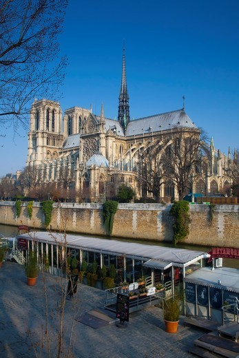 Stock Photo: 1566-763779 Notre Dame Cathedral and Seine river and tourist boat  Paris, France, Europe