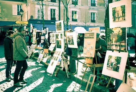 Place du Tertre and painters  Montmartre  Paris, France, Europe : Stock Photo