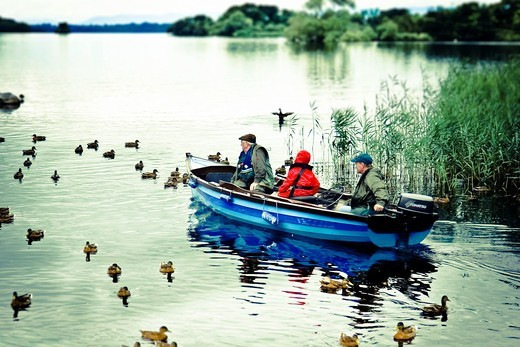 Stock Photo: 1566-764086 Fishing in Leane Lake near Ross Castle  Killarney National Park  County Kerry, Ireland