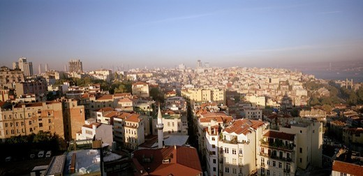 A panoramic view over the district of Beyoglu in Istanbul, Turkey : Stock Photo
