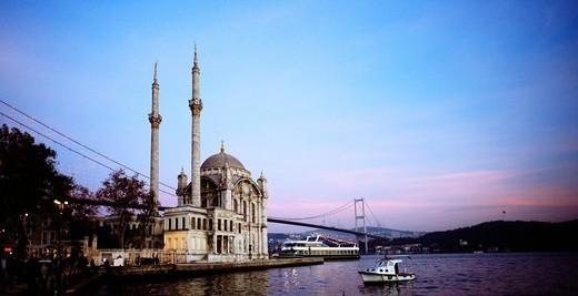 Ortakoy Mosque Buyuk Mecidiye Mosque at Ortakoy in Istanbul, Turkey : Stock Photo