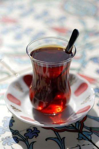 Istanbul  Turkey  Small glass of turkish tea : Stock Photo