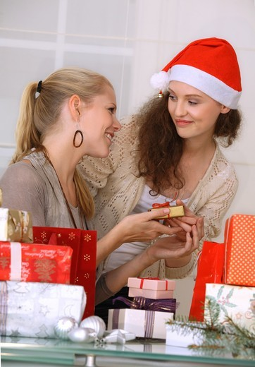 Two women with Christmas presents : Stock Photo