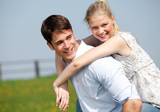 Stock Photo: 1566-765764 couple walk  meadow