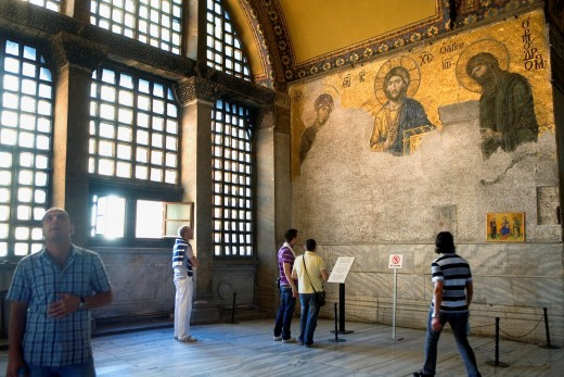 Hagia Sophia  Deesis mosaic  Byzantine mosaic and tourists  Istanbul  Turkey : Stock Photo