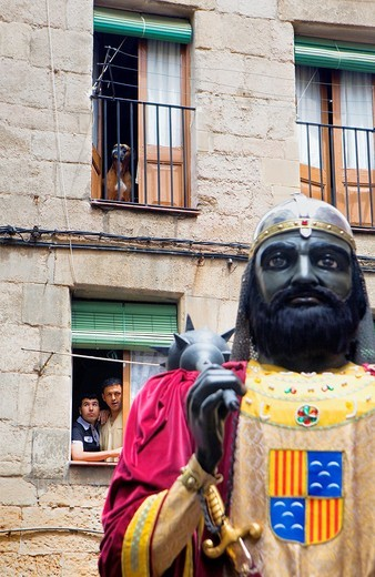 Stock Photo: 1566-766068 Parade Looking the giant La Patum Masterpiece of Oral and Intangible Heritage by UNESCO Berga  Barcelona  Catalonia  Spain