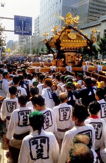 Stock Photo: 1566-766074 Fukagawa Hachiman Matsuri festival-august  Procession of Mikoshi mobile shrine Tokyo city, Japan, Asia