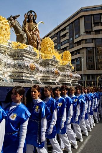 Palm Sunday procession procesión de Jesús triunfante, Elche  Alicante province, Comunidad Valenciana, Spain : Stock Photo