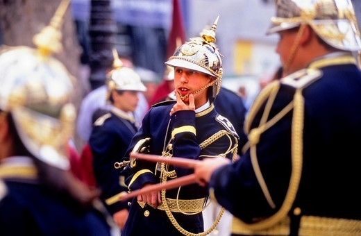 Stock Photo: 1566-766163 Musicias  Holy Monday procession in Carrera del Genil  Brotherhood of `Trabajo´, Granada  Andalusia, Spain