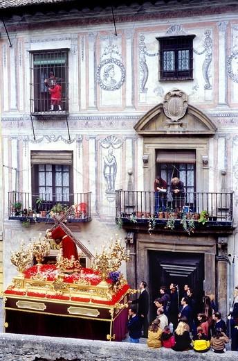 Stock Photo: 1566-766168 Christ Holy Tuesday procession in Carrera del Darro  Brotherhood of 'Via Crucis' Granada  Andalusia, Spain