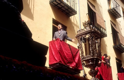 Stock Photo: 1566-766169 'Saetero' singing to virgin of 'Soledad' Good Friday In calle Jarreria  Brotherhood of 'Soledad Campo Principe'  Granada  Andalusia, Spain