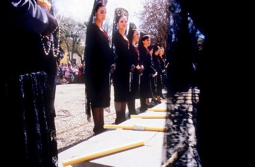 Mantillas  Good Friday procession in Campo del Principe  Brotherhood of `Soledad Campo Principe´  Granada  Andalusia, Spain : Stock Photo
