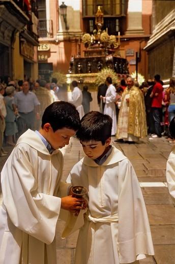 Stock Photo: 1566-766185 Corpus Christi procession, Custodia ostensorium, in Calle Carcel baja, Granada, Andalucia, Spain